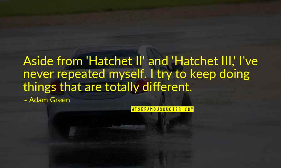 If Only Things Were Different Quotes By Adam Green: Aside from 'Hatchet II' and 'Hatchet III,' I've