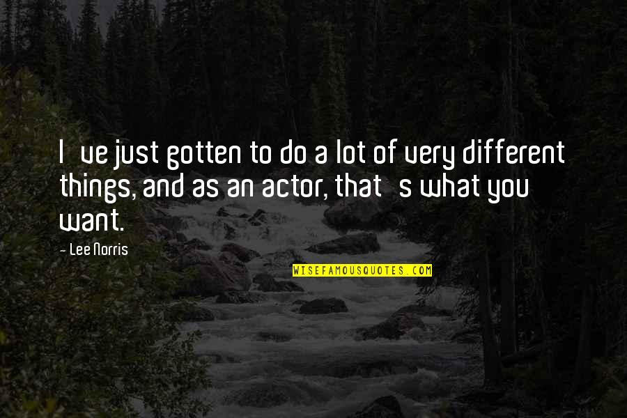If Only Things Were Different Quotes By Lee Norris: I've just gotten to do a lot of