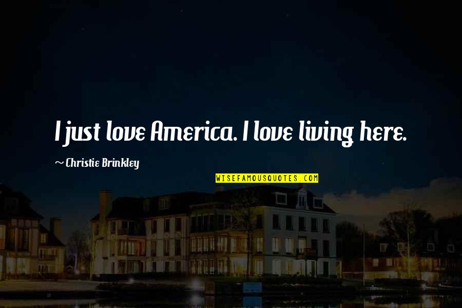 If Only You Were Here Quotes By Christie Brinkley: I just love America. I love living here.