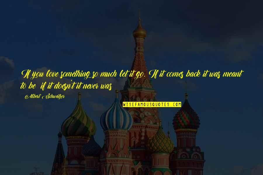 If Something Comes Back To You Quotes By Albert Schweitzer: If you love something so much let it