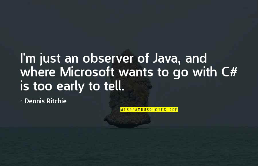 If They Only Knew The Real Me Quotes By Dennis Ritchie: I'm just an observer of Java, and where