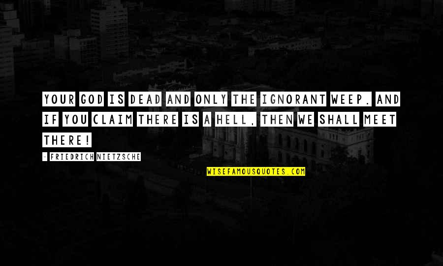 If We Meet Quotes By Friedrich Nietzsche: Your god is dead and only the ignorant