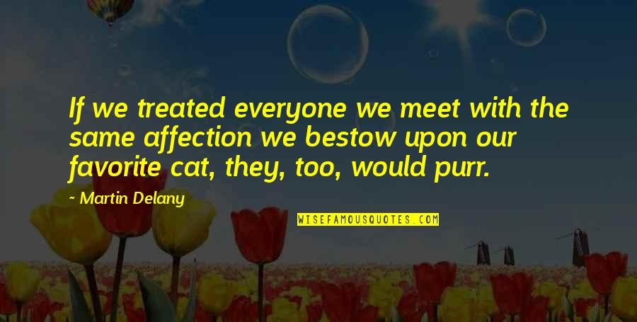 If We Meet Quotes By Martin Delany: If we treated everyone we meet with the