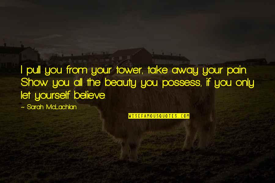 If You Believe Yourself Quotes By Sarah McLachlan: I pull you from your tower, take away