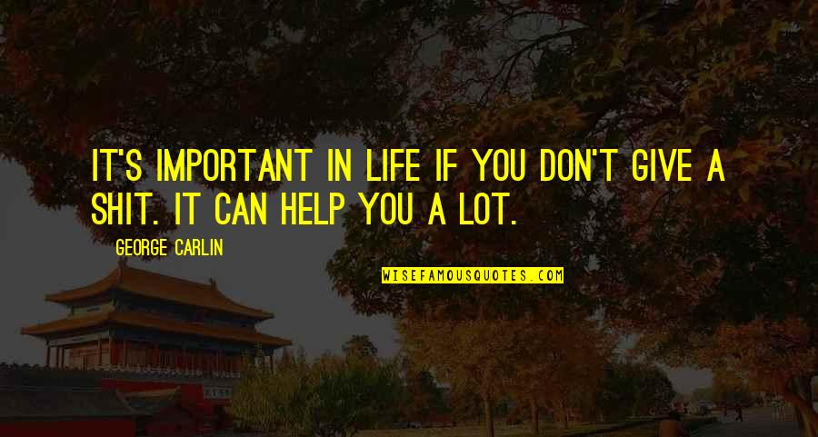 If You Can Help Quotes By George Carlin: It's important in life if you don't give