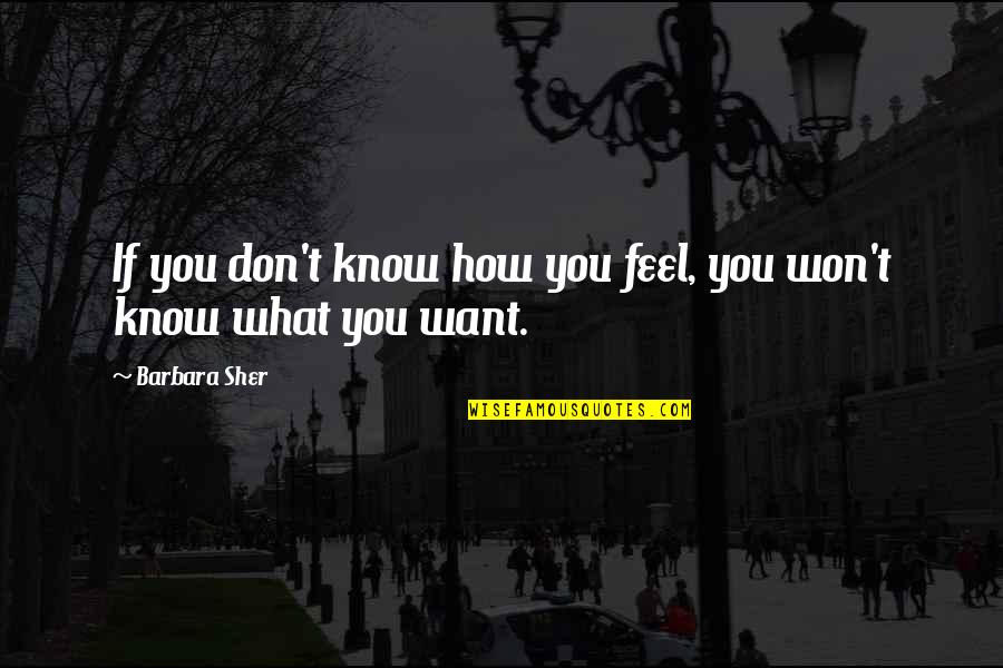 If You Don't Know What You Want Quotes By Barbara Sher: If you don't know how you feel, you
