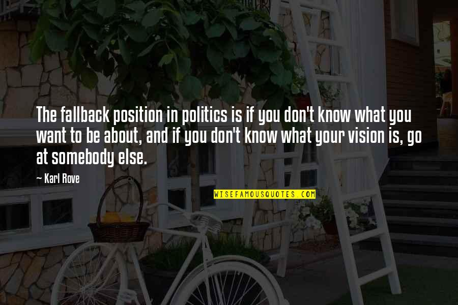 If You Don't Know What You Want Quotes By Karl Rove: The fallback position in politics is if you