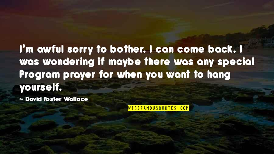 If You Want To Come Back Quotes By David Foster Wallace: I'm awful sorry to bother. I can come