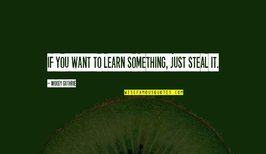 If You Want To Learn Quotes By Woody Guthrie: If you want to learn something, just steal