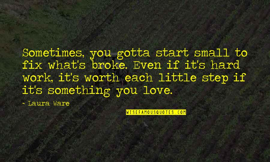 If You're Worth It Quotes By Laura Ware: Sometimes, you gotta start small to fix what's