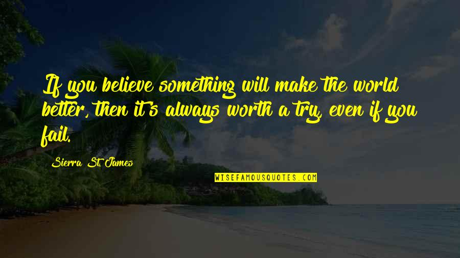 If You're Worth It Quotes By Sierra St. James: If you believe something will make the world