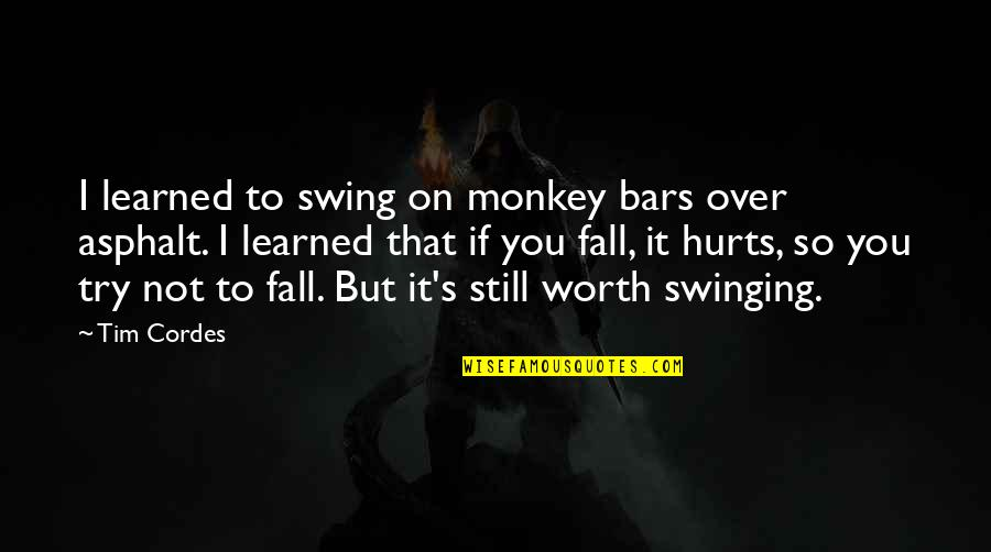 If You're Worth It Quotes By Tim Cordes: I learned to swing on monkey bars over