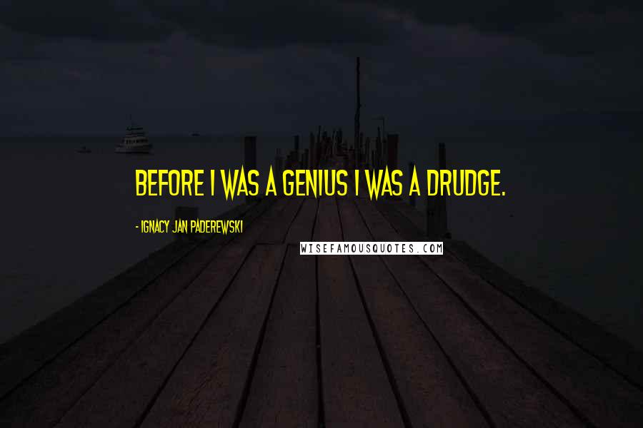 Ignacy Jan Paderewski quotes: Before I was a genius I was a drudge.