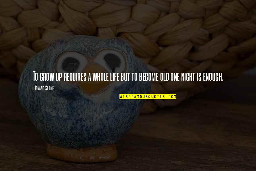 Ignazio Silone Quotes By Ignazio Silone: To grow up requires a whole life but
