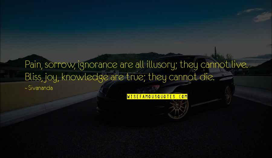 Ignorance And Bliss Quotes By Sivananda: Pain, sorrow, ignorance are all illusory; they cannot