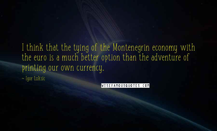 Igor Luksic quotes: I think that the tying of the Montenegrin economy with the euro is a much better option than the adventure of printing our own currency.
