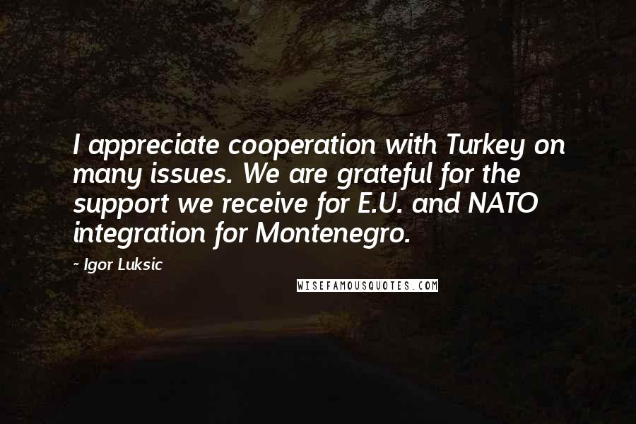 Igor Luksic quotes: I appreciate cooperation with Turkey on many issues. We are grateful for the support we receive for E.U. and NATO integration for Montenegro.