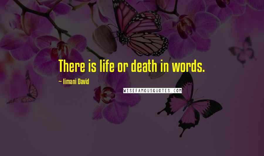Iimani David quotes: There is life or death in words.
