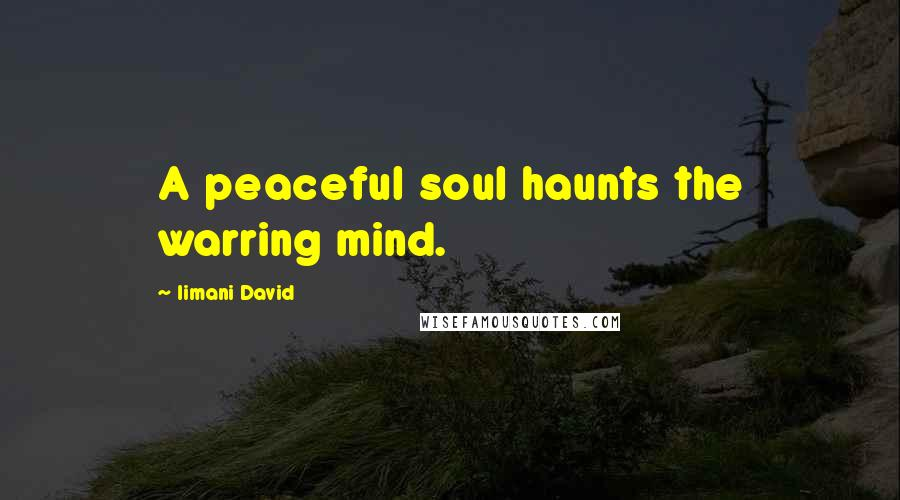 Iimani David quotes: A peaceful soul haunts the warring mind.