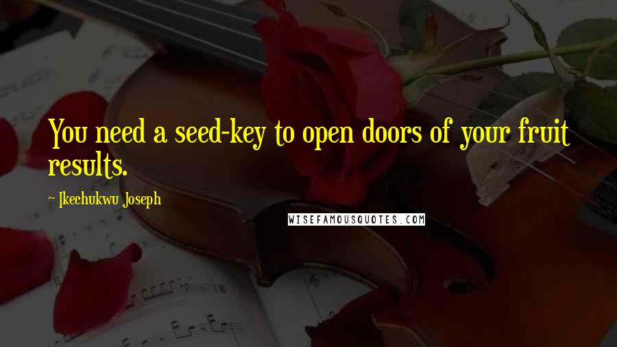 Ikechukwu Joseph quotes: You need a seed-key to open doors of your fruit results.