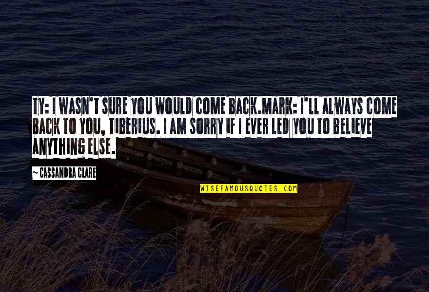 I'll Always Come Back To You Quotes By Cassandra Clare: Ty: I wasn't sure you would come back.Mark: