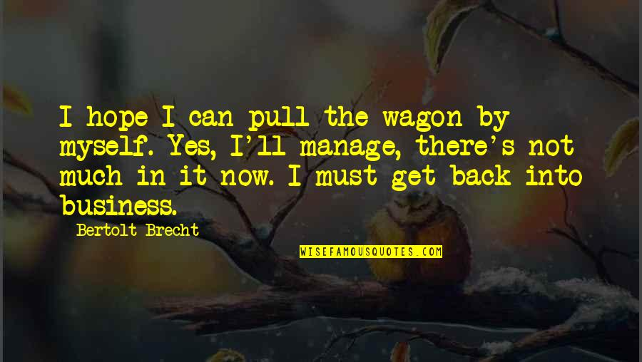 I'll Get There Quotes By Bertolt Brecht: I hope I can pull the wagon by