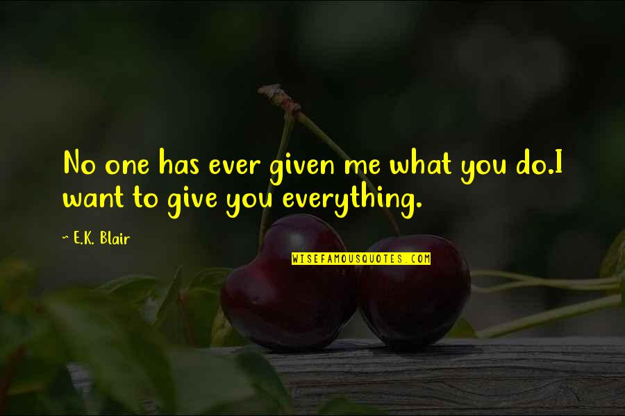 I'll Give You Everything Quotes By E.K. Blair: No one has ever given me what you