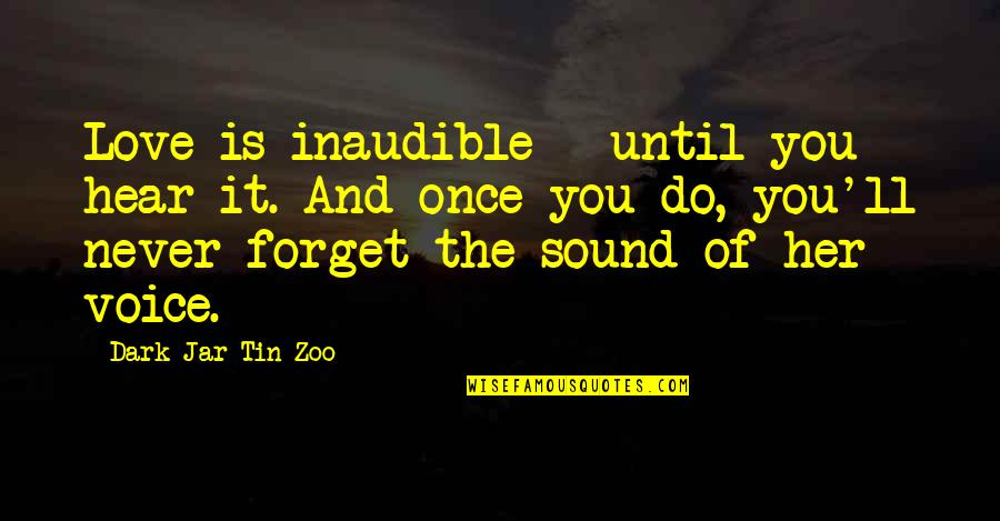 I'll Never Forget Our Love Quotes By Dark Jar Tin Zoo: Love is inaudible - until you hear it.