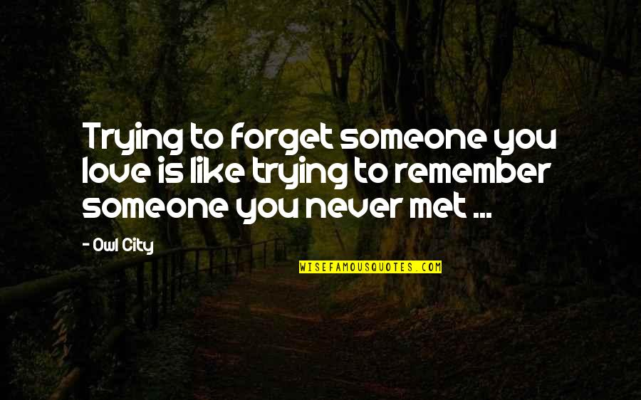 I'll Never Forget Our Love Quotes By Owl City: Trying to forget someone you love is like