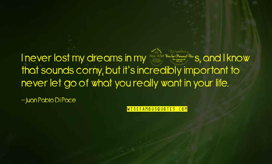I'll Never Let You Go Quotes By Juan Pablo Di Pace: I never lost my dreams in my 20s,