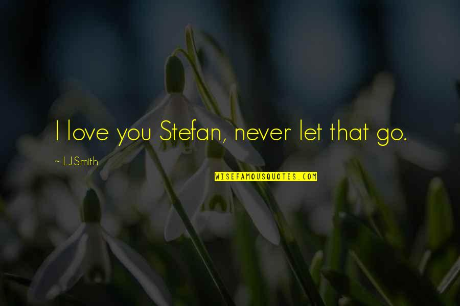 I'll Never Let You Go Quotes By L.J.Smith: I love you Stefan, never let that go.