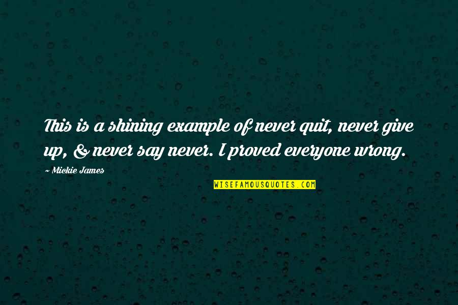 I'll Never Quit Quotes By Mickie James: This is a shining example of never quit,
