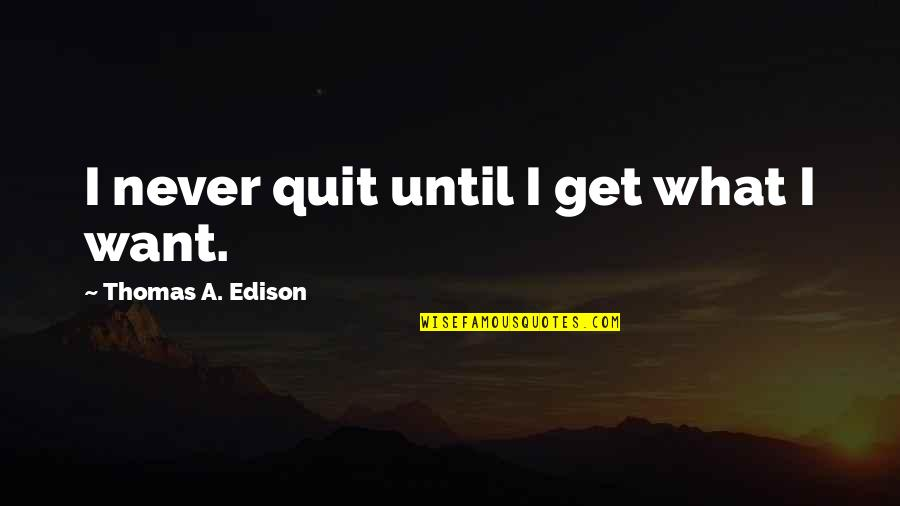 I'll Never Quit Quotes By Thomas A. Edison: I never quit until I get what I