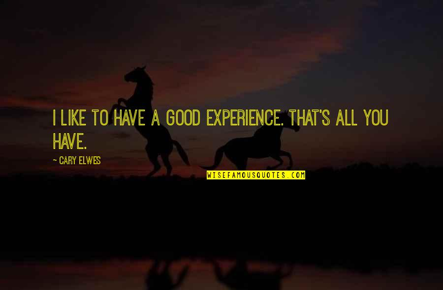 Illium Quotes By Cary Elwes: I like to have a good experience. That's