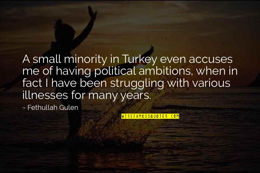 Illnesses Quotes By Fethullah Gulen: A small minority in Turkey even accuses me