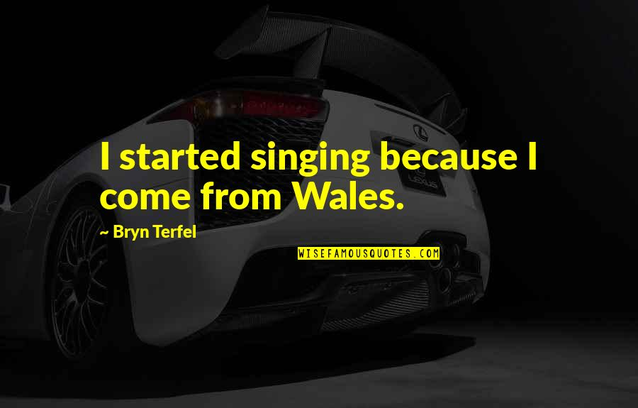 Ilona Staller Quotes By Bryn Terfel: I started singing because I come from Wales.
