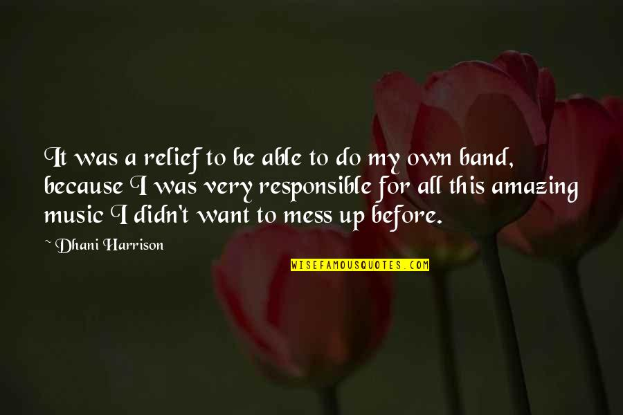 I'm A Mess Up Quotes By Dhani Harrison: It was a relief to be able to