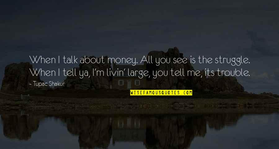 I'm All About You Quotes By Tupac Shakur: When I talk about money. All you see