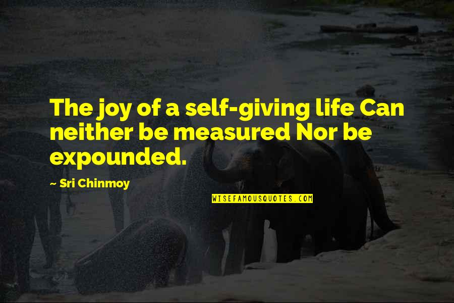 I'm Giving Up On Life Quotes By Sri Chinmoy: The joy of a self-giving life Can neither