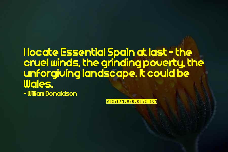 I'm Grinding Quotes By William Donaldson: I locate Essential Spain at last - the