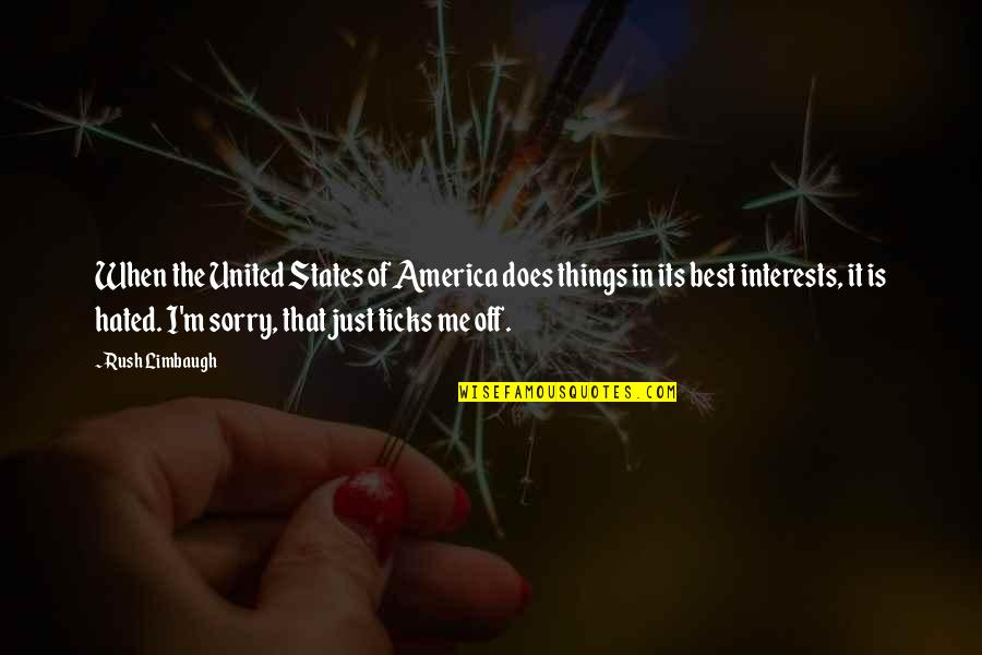 I'm Hated Quotes By Rush Limbaugh: When the United States of America does things