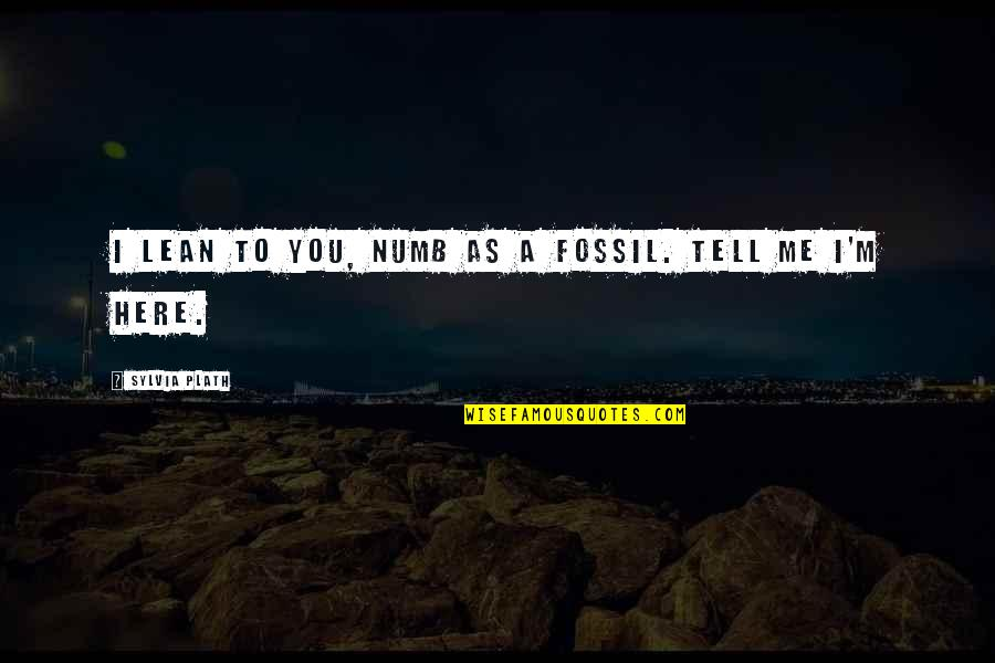 I'm Here Quotes By Sylvia Plath: I lean to you, numb as a fossil.