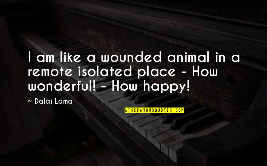 I'm In A Happy Place Quotes By Dalai Lama: I am like a wounded animal in a