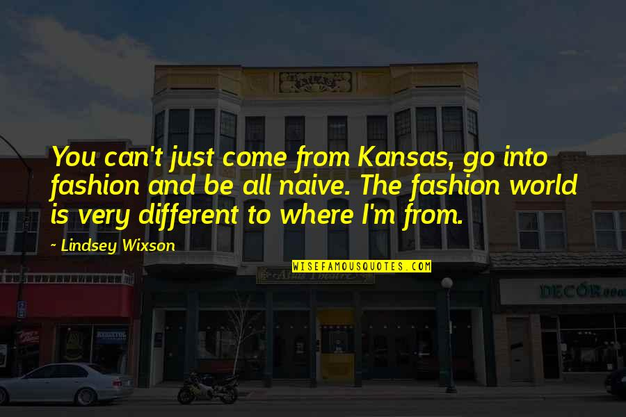 I'm Just Different Quotes By Lindsey Wixson: You can't just come from Kansas, go into