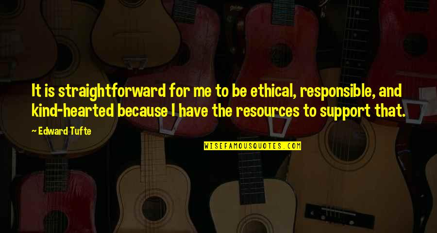 I'm Kind Hearted Quotes By Edward Tufte: It is straightforward for me to be ethical,