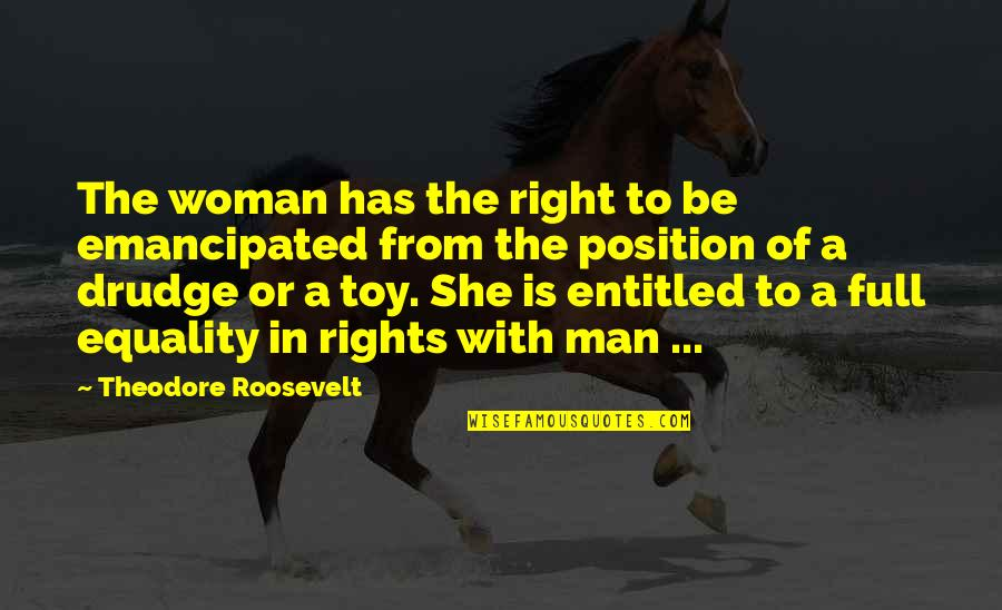I'm Not Toy Quotes By Theodore Roosevelt: The woman has the right to be emancipated