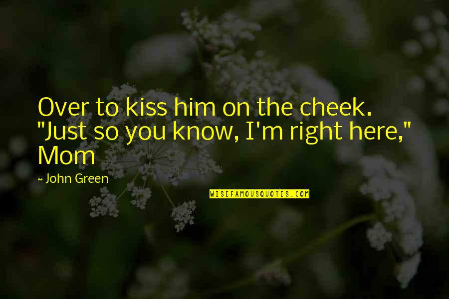 "I'm Over Him Quotes By John Green: Over to kiss him on the cheek. ""Just"