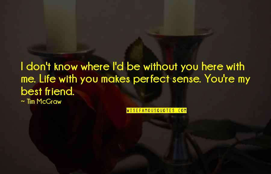 I'm Perfect Without You Quotes By Tim McGraw: I don't know where I'd be without you