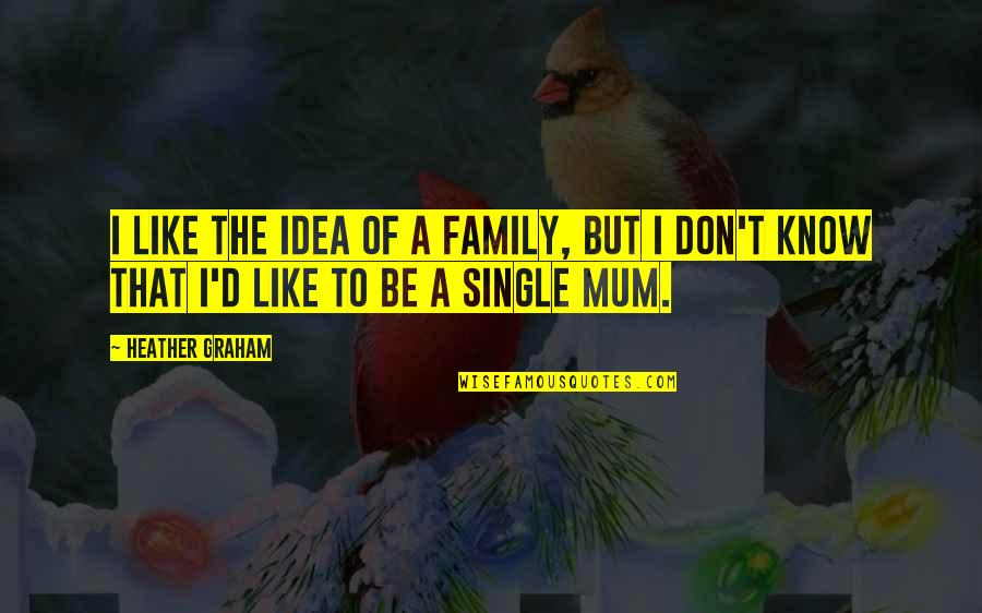 I'm Single Like Quotes By Heather Graham: I like the idea of a family, but
