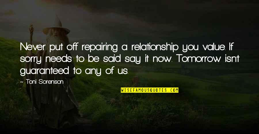 I'm Sorry Friendship Quotes By Toni Sorenson: Never put off repairing a relationship you value.